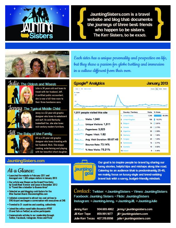 Jaunting Sisters Media Kit January 2013