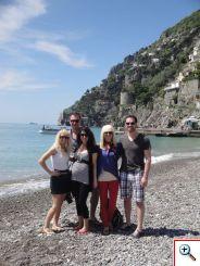 Amber, Nick, Jill, Jenny & Joe on the beach in Positano