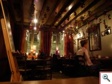 Interior of Cafe Rose Red in Brugge Belgium