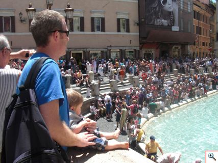 Daddy Kevin with Bennett at Trevi Fountain