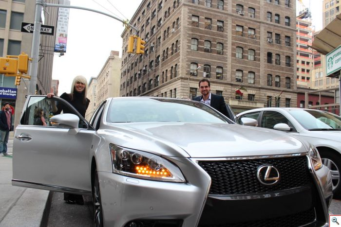 Jenny and Joe with the Lexus LS F Sport