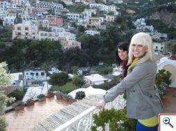 Jenny and Jill on the balcony at La Sirenuse in Positano