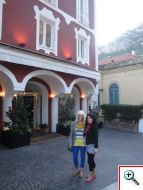 Jenny and Jill in front of La Sirenuse in Positano