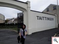 Jill outside Taittinger in Champagne