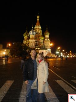 Jeff and Julie in front of St. Basil's Cathedral